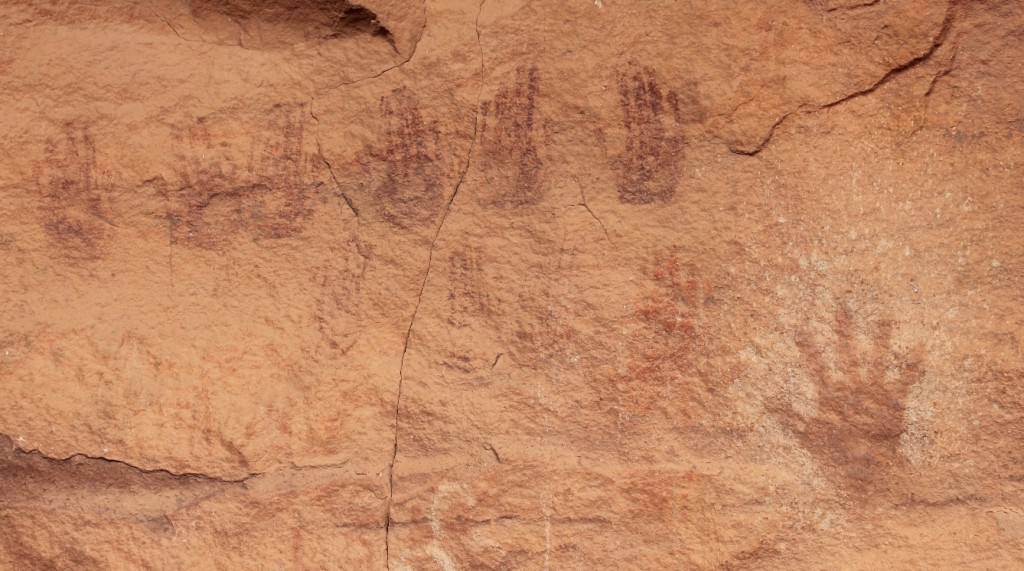 hand pictographs at Peekaboo Arch